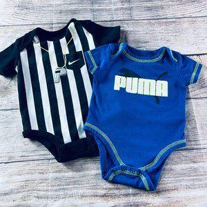 Baby Boy 0-3m Puma & Nike SS bodysuits